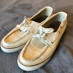 Sperry off white glitter topsiders size 10